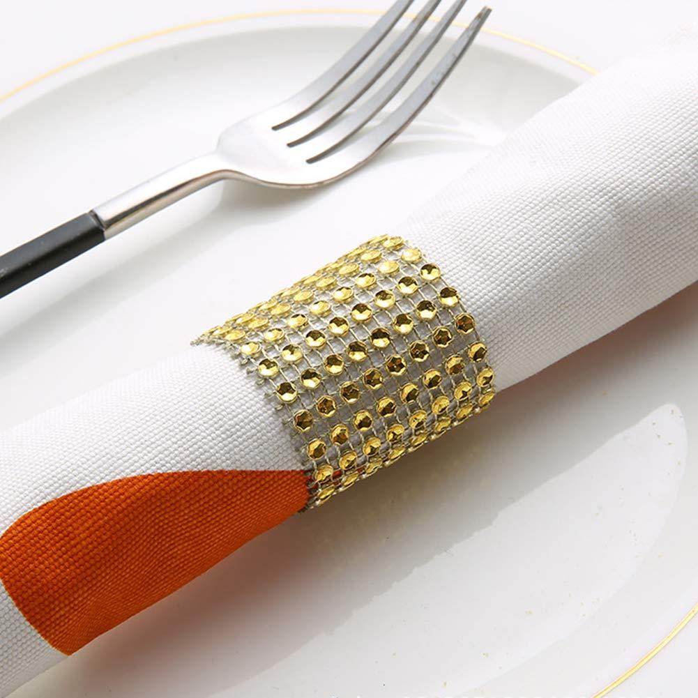 strass or, 50 Porte-Serviettes pour fête de mariage Gold Serviette Anneaux