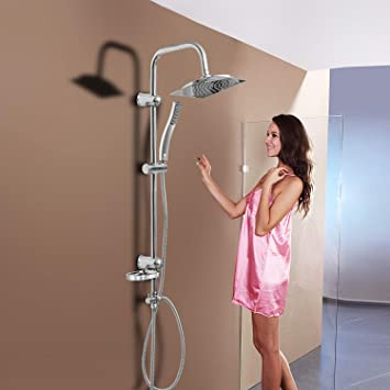 HENGDA ducha con altura regulable pared mamparas de ducha barra ducha Set 2 tipos de chorro: Amazon.es: Bricolaje y herramientas