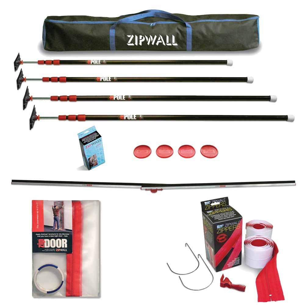ZipWall 10 4 Pack Dust Barrier System w/ ZipDoor, Tapless Seal, & 2 Pack Zippers