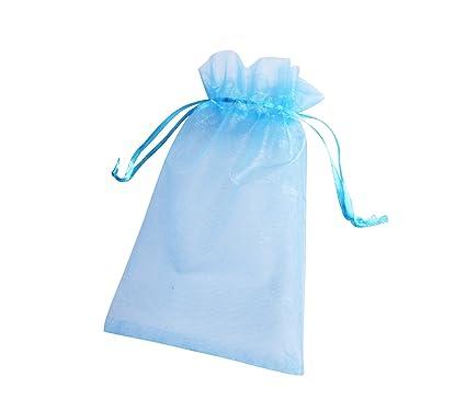 ONW Bolsas de Organza para Envolver Regalo Detalle de Boda Joyas Caramelo Dulces Bolsitas para Regalos ,Luz Azul Cielo 100 PCS 10x15cm