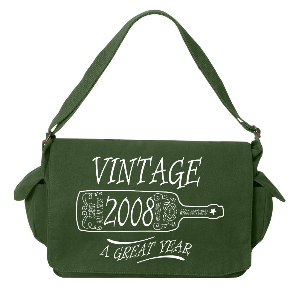 Tenacitee Aged Like a Fine Wine 2008 Green Brushed Canvas Messenger Bag