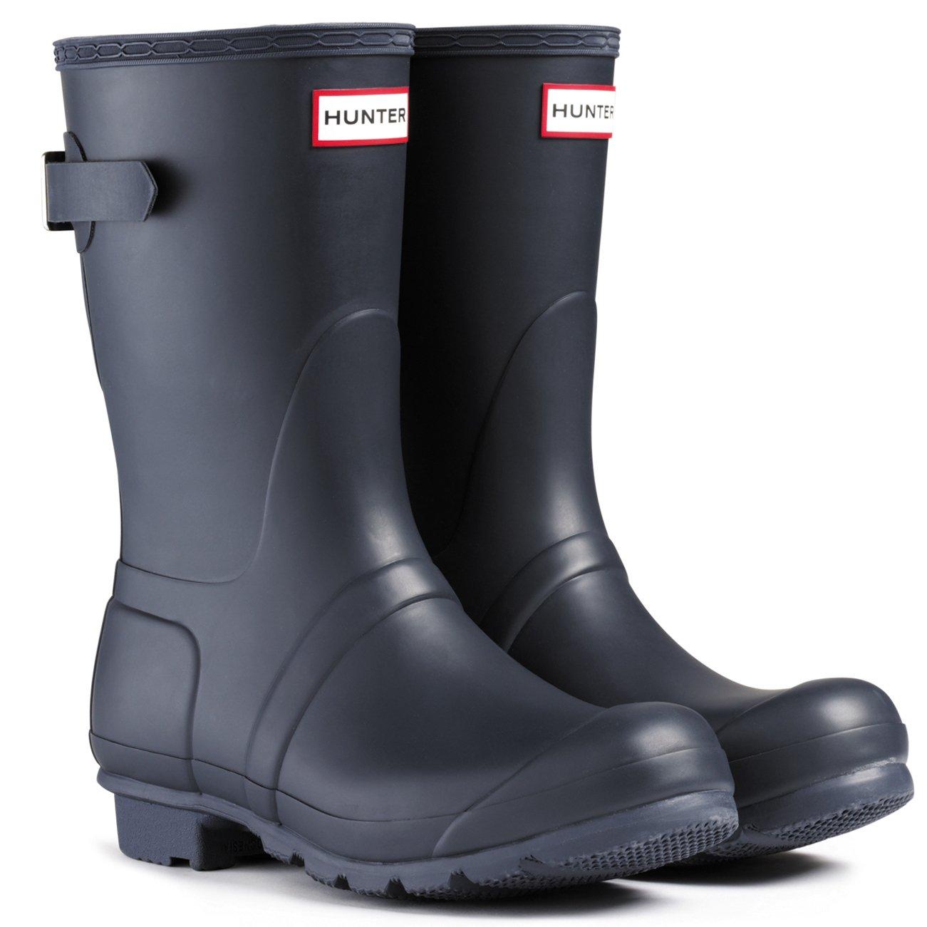 Womens Hunter Original Adjustable Back Short Wellies Festival Rain Boots - Navy - 7