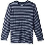 Nautica Men's Long Sleeve Striped Crew Neck Shirt, Deep Anchor Heather, X-Large