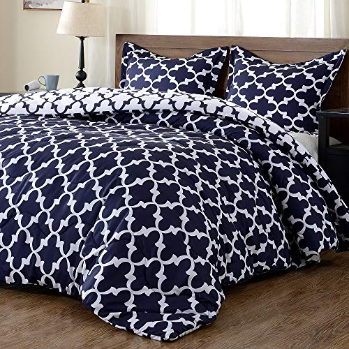 downluxe Lightweight Printed Comforter Set (Twin,Navy) with 1 Pillow Sham - 2-Piece Set - Down Alternative Reversible Comforter