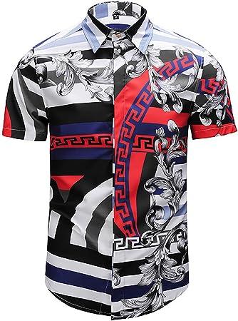 W&TT Camisas Vintage Floral de los Hombres Manga Corta botón de Vestir Camisetas,M: Amazon.es: Hogar