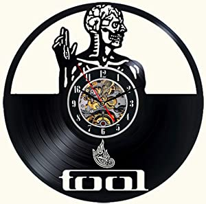 Tool Band Vinyl Wall Clock 12 in Black Decor Modern Decorative Vinyl Record Wall Clock Unique Gift to Your Friends and Family for Any Occasion