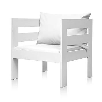 SUENOSZZZ - Sofa Jardin de Madera de Pino Color Blanco, MEDITERRANEO Mod. sillón, Sillon cojín Polipiel Color Blanco. Muebles Jardin Exterior. Silla ...