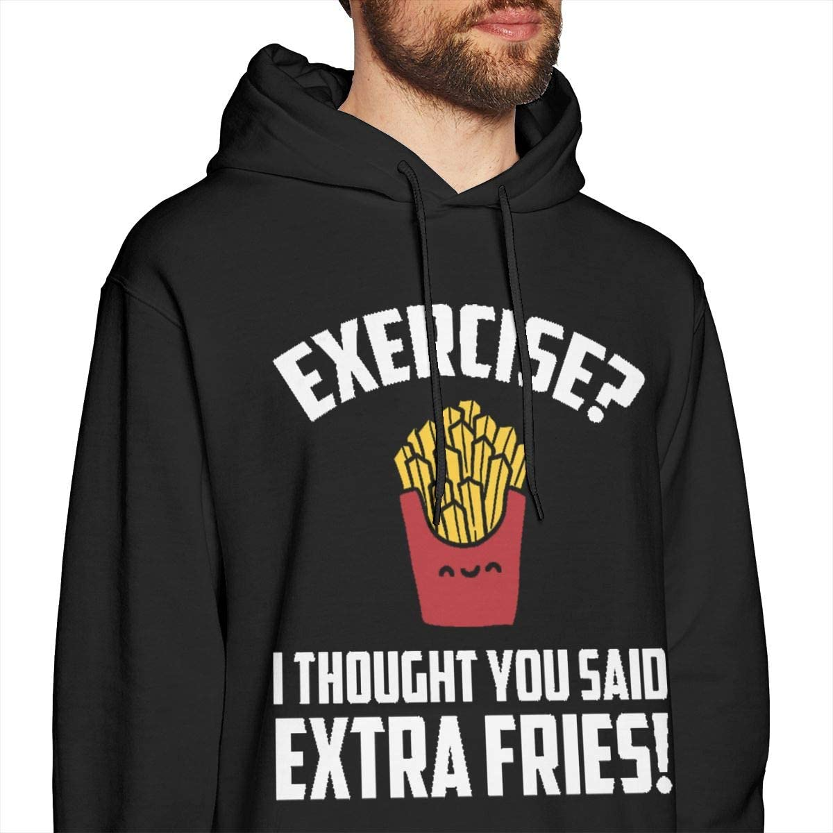 Reagan Mens Exercise I Thought You Said Extra Fries Long Sleeve Hooded Sweat Shirt Pullover