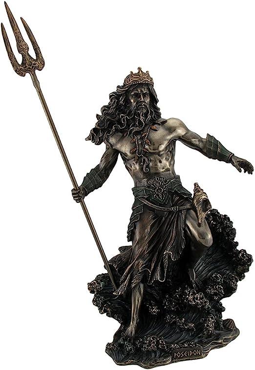 POSEIDON GOD OF SEA THROWING TRIDENT GREEK MYTHOLOGY Statue Bronze Finish