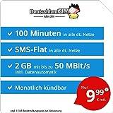 DeutschlandSIM LTE Mini SMS 2 GB [SIM, Micro-SIM und Nano-SIM] monatlich kündbar (2 GB LTE mit max. 50 MBit/s + Datenautomatik, 100 Minuten, SMS-Flat, EU-Ausland inklusive, 9,99 Euro/Monat)