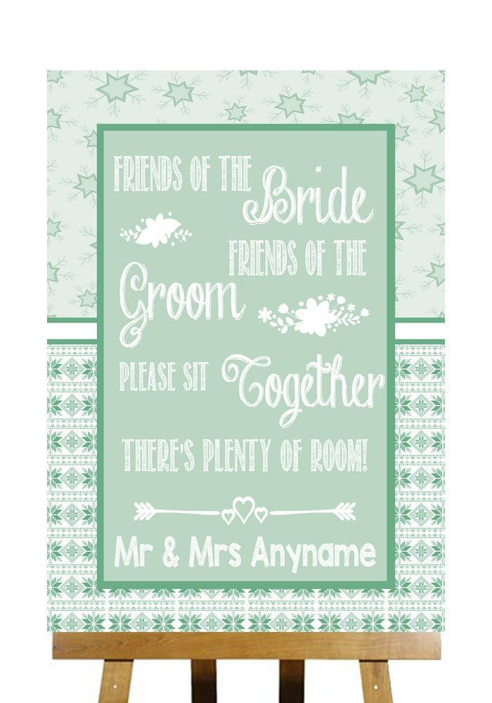Winter Green Christmas Seating Plan Please Sit Together Personalized Wedding Sign