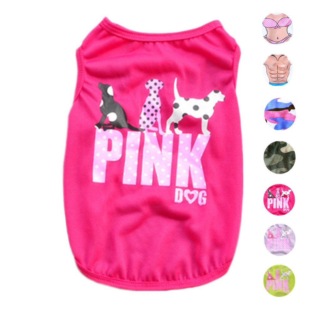 Magenta SAlroman Pet Shirts Dog Vest Puppy Tee Dog TShirt Cat Vest Cat Shirts Pet Clothes for Small Female Dogs and Cats Doggie TShirt Cats Apparel Puppy Summer Apparel Pet Beach Wear (S, Magenta)