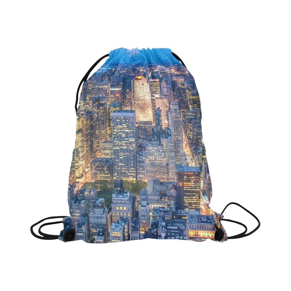 InterestPrint Drawstring Backpack City View Art Painting School Travel  Daypack Gym Bag for Kids f14da069d1077