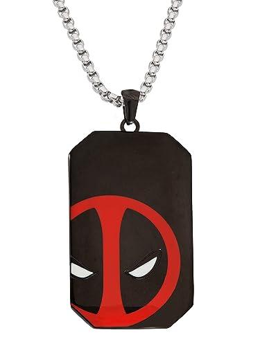 Marvel Comics Black Deadpool Dog Tag Stainless Steel Necklace Pendant New Box