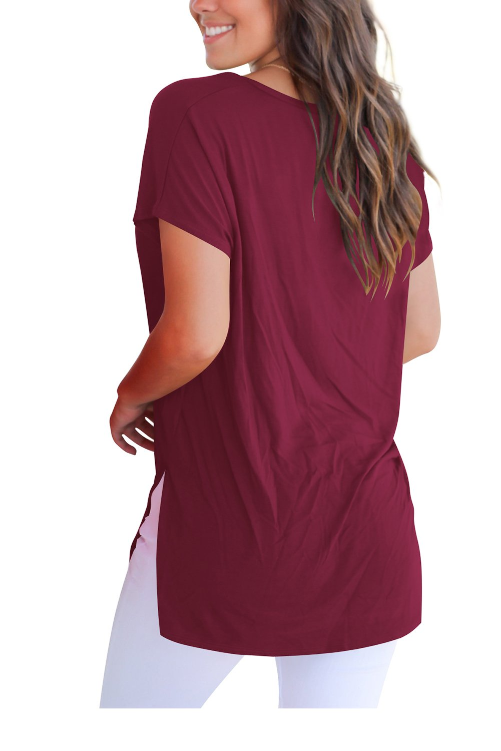 FAVALIVE Women Tees and Tops Short Sleeve V Neck Tunic T Shirts Plain Wind Red XL by FAVALIVE (Image #3)