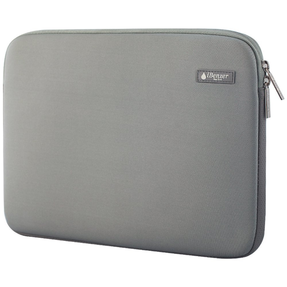 "iBenzer Basic 15.4"" Deluxe Neoprene Laptop Sleeve Bag Cover Case for MacBook Pro 15""/Retina 15""/HP/Acer/Dell/Asus/Samsung UltraBooks, (Gray)"