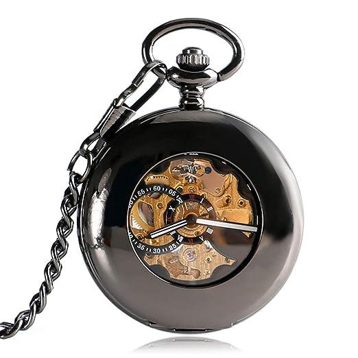 Reloj de Bolsillo para Hombre, automático, mecánico, de Bolsillo, para Hombre, diseño de Girasol, Moderno, Cadena de Reloj de Bolsillo para Hombre: ...