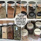 Talented Kitchen 14 Large Glass Spice Jars w/2