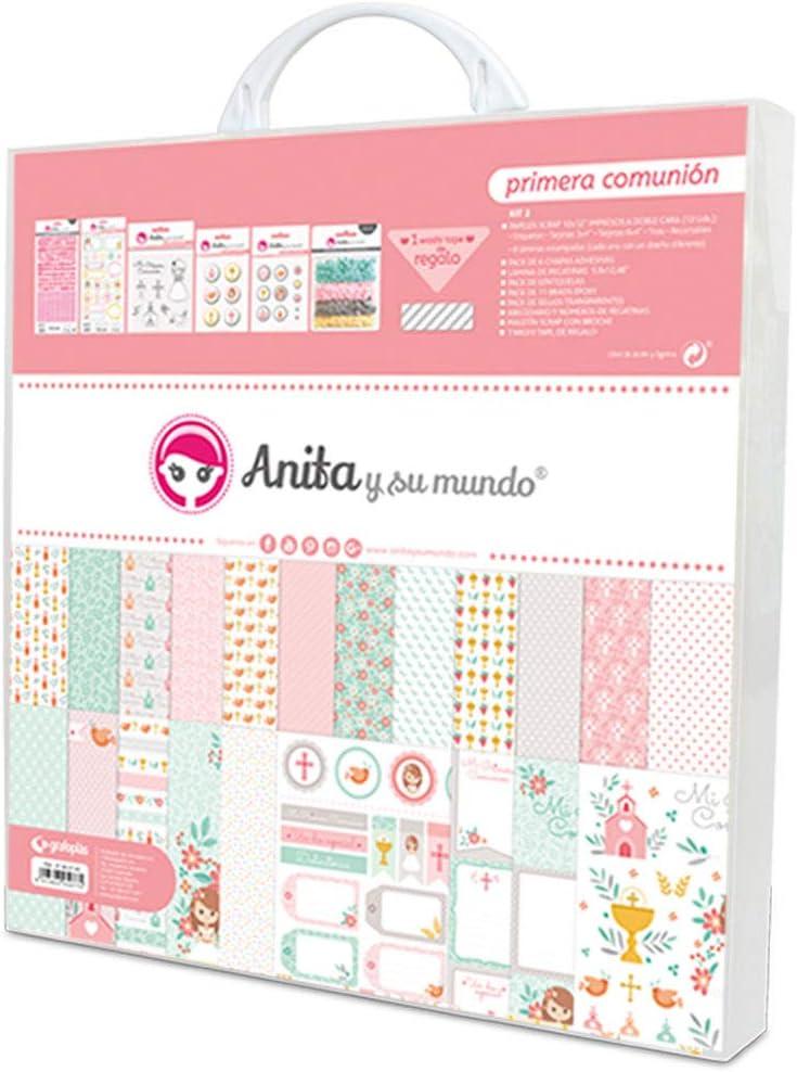 Anita y Su Mundo Primera Comunión Niña Kit Scrapbooking, Rosa, 30,5x30,5cm, 8