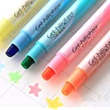 JXTZ Gel Highlighter Pen 6 Pcs Cute Cool Novelty Solid Accent Office School Supplies Student Children Smooth Candy Color (6 Random Color)