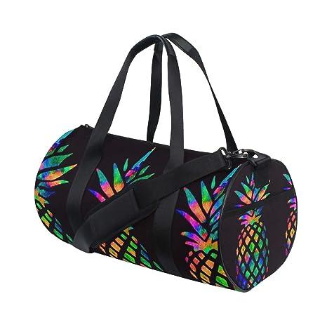c1319360b820 Amazon.com: OuLian Duffel Bag Rainbow Pineapple Women Garment Gym ...