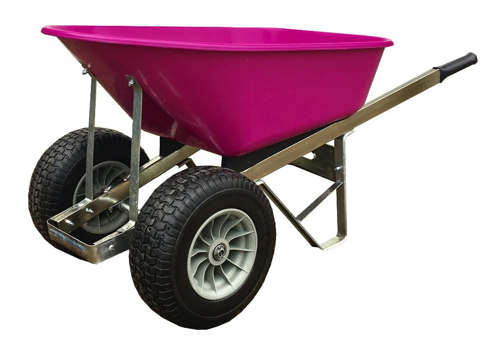 Pink 120L Wheelbarrow with wider 150mm Fatboy Puncture proof wheels - Delivered Fully Assembled Wheelbarrows Direct Ltd