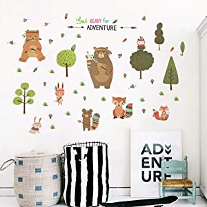 Animal Wall Decals, H2MTOOL Removable Forest Baby Wall Stickers with Bear Fox Tree for Kids Nursery Room Decor