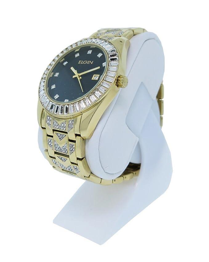 Amazon.com: Elgin FG1509 Mens Black Round Analog Date White Crystal Gold Tone Watch: Watches
