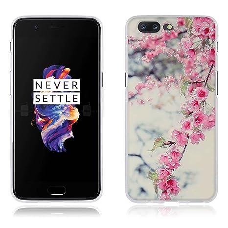 FUBAODA Funda OnePlus 5,Carcasa Protectora de Silicona Diseño de Flores de Colores Vivos,Resiste a los Arañazos,Carcasa Completamente Resistente para ...