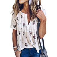WLLW Women's Bohemian Short Sleeve V Neck Floral Print T Shirt Tops Blouse Tee