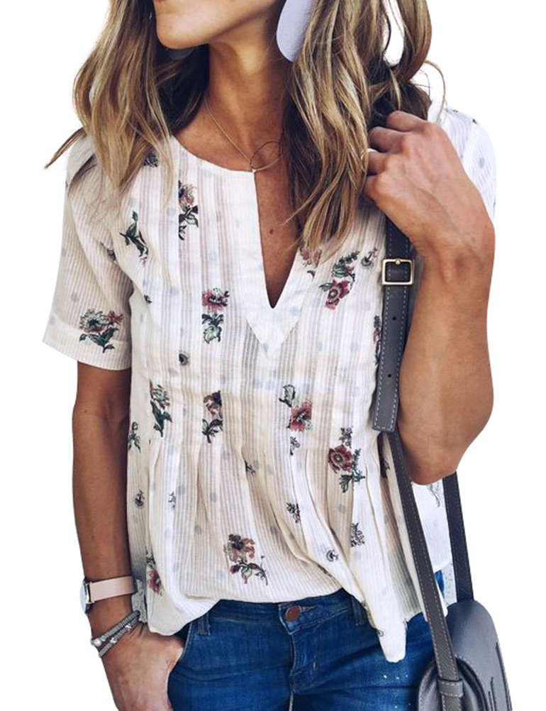 WLLW Women Bohemian Short Sleeve V Neck Floral Print T Shirt Tops Blouse Tee,White M by WLLW (Image #1)