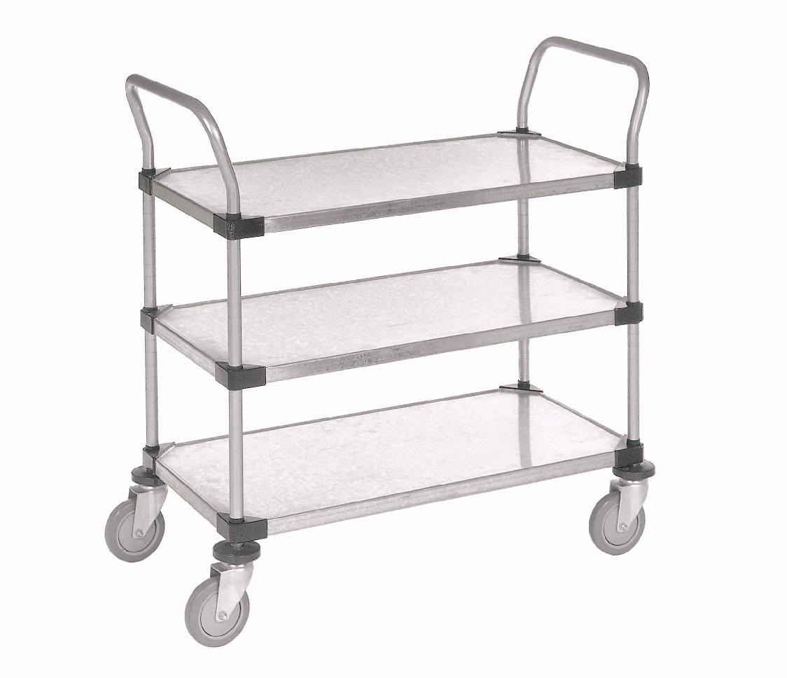 Nexel 3 Solid Shelves Utility Cart, Galvanized Steel, 18''W x 36''L