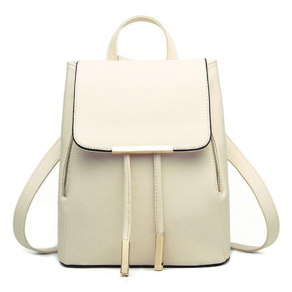 Outsta Women Leather Backpacks, Schoolbags Travel Shoulder Bag Mochila Feminina Lightweight Classic Basic Water Resistant Backpack Fashion (Beige) by Outsta (Image #1)