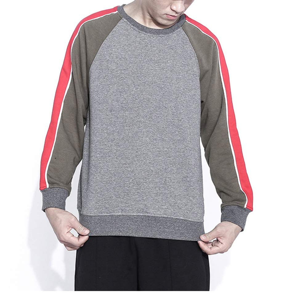 Mens Autumn New Cotton Stitching Loose Wild Simple Contrast Color Sweater