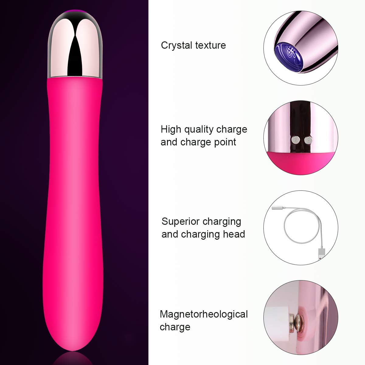 Mini Rechargeable clitoris g-spot vibrator for women - Ultra Soft bendable silicone dildo adult sex toy -offers healthy vibration patterns.