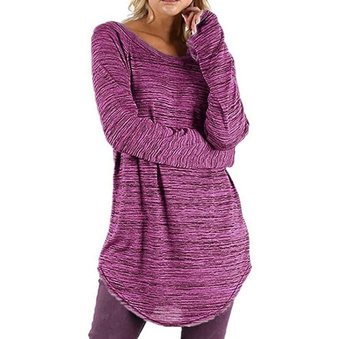 Camisas Mujer,❤ Amlaiworld Camisetas Mujer Casual Blusa de Manga Larga de Color sólido