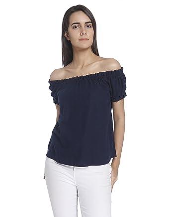 ce28683572675 VERO MODA Women s Plain Regular Fit Shirt (184441001 Navy Blazer XS)