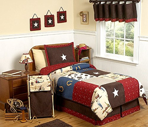 Sweet Jojo Designs 4-Piece Wild West Cowboy Western Children's Bedding Twin - West Bedding Collection Crib
