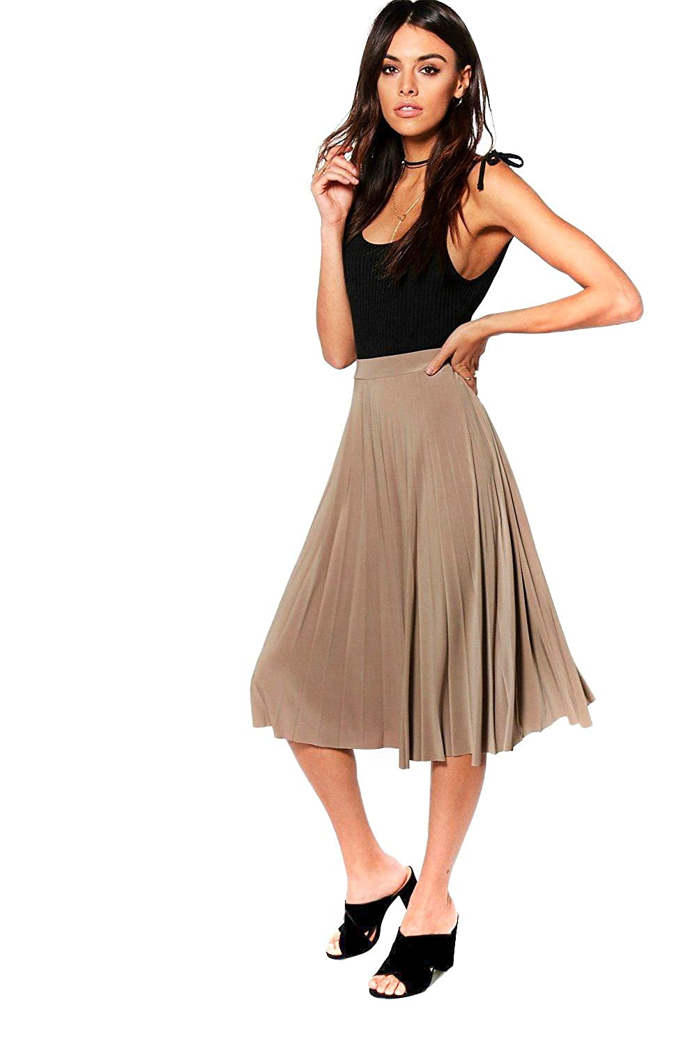 Sand Womens Geneva Pleated Slinky Midi Skirt
