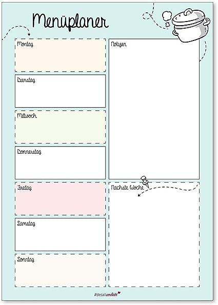 Planning Menu Dv 225 Bloc Notes A4 Formulaire Imprime