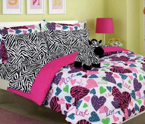 Girls Kids Bedding - Misty Zebra Bed in a Bag Comforter Set -Full