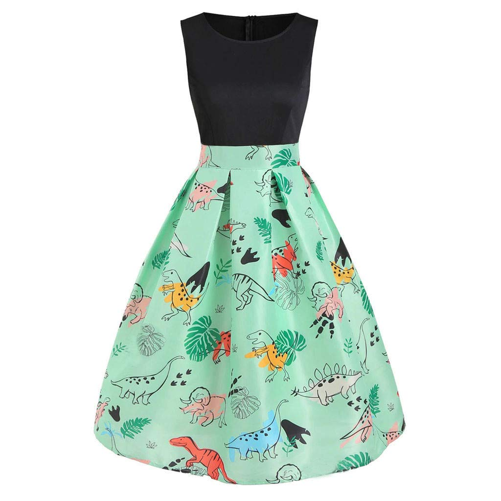 ℱLOVESOOℱ Women Dinosaur Printed Mini Dress Plus Size O-Neck Sleeveless Tunic Tank Dress Ladies Vintage Casual Swing Dress Mint Green by ℱLOVESOOℱ
