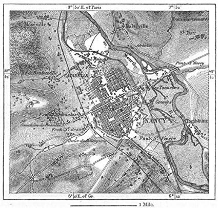 Map Of France Nancy.Amazon Com France Nancy Sketch Map C1885 Old Map Antique