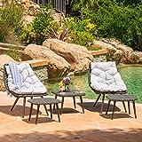Cáceres- Outdoor, Patio, Garden, Grey Wicker Chat Set (5 piece), Water Resistant Cushions