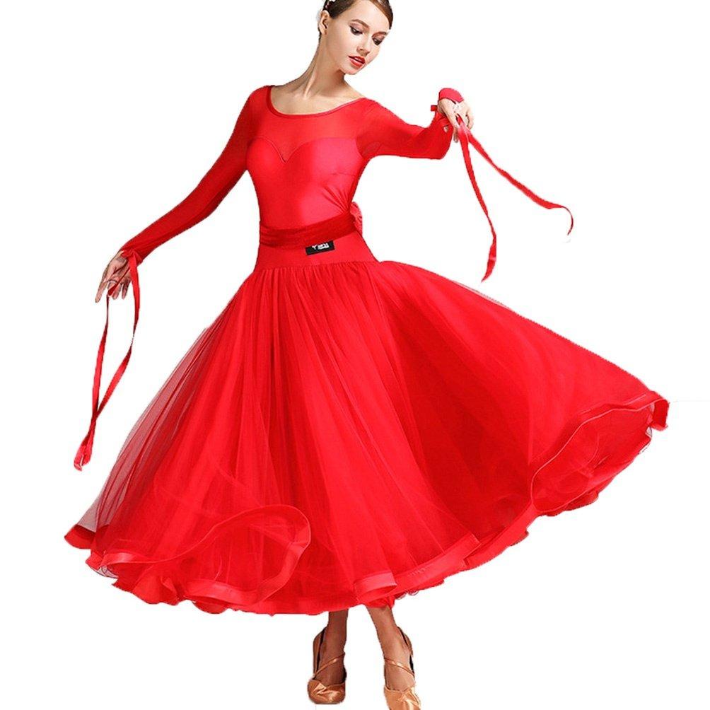 Wangmei Abito Nazionale di ballo dello Standard per Donne Mesh Stitching Valzer Moderno Ballo da Sala Abiti da Competizione Semplice Tango Performance Abbigliamento da ballo