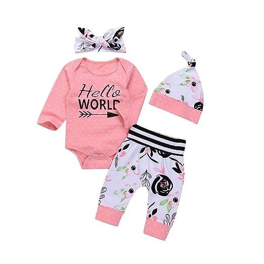 Amazon.com: SMTSMT 4PCS Toddler Baby Letter Print Romper+Floral ...