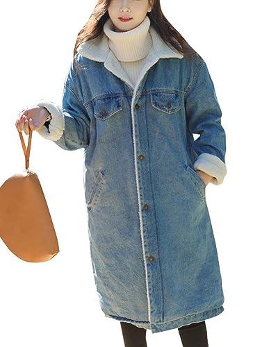 Mujer Casual Abrigos Chaquetas Jacket De Mezclilla Abrigo Chaqueta Parka Larga