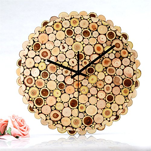 Imoerjia Solid Wood Mute Bedroom Living Room Bar Wall Clock Wood Creative Clocks /30Cm by Imoerjia