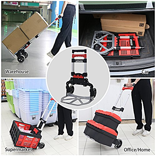 Finether Cart Aluminum Folding 2-wheel Hand Cart Lightweight Portable Hand Truck/Dolly with Collapsible and Detachable Box by Finether (Image #6)