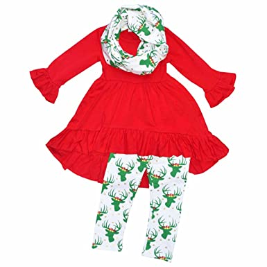 Unique Baby Girls 3 Piece Gold Dot Christmas Reindeer Outfit (2T/XS, Red - Amazon.com: Unique Baby Girls 3 Piece Gold Dot Christmas Reindeer
